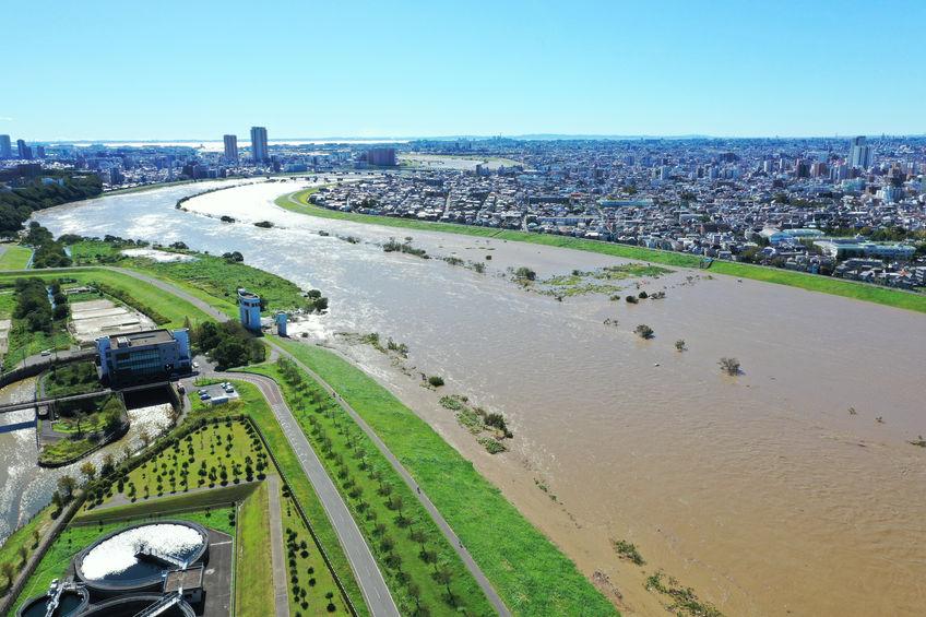 edogawa flooded by typhoon