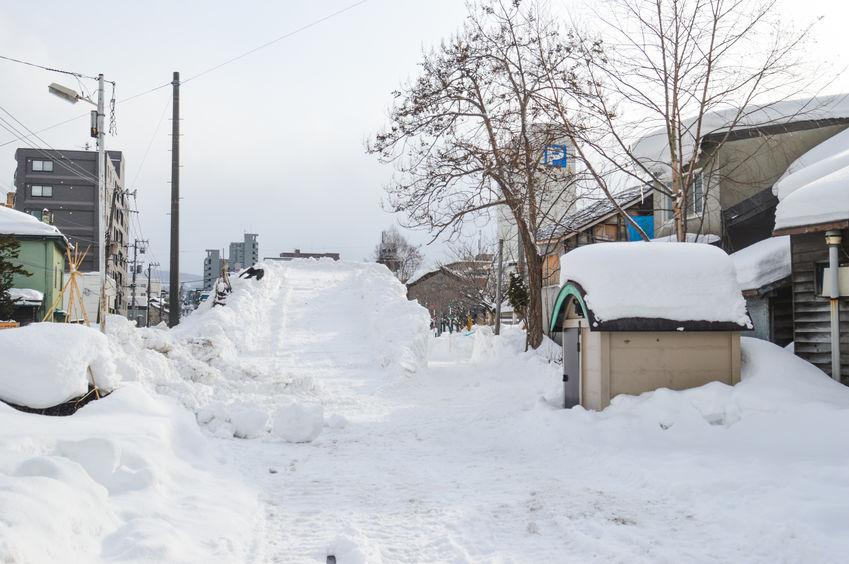 Winter scene at Otaru, Hakkaido Japan during heavy snowing. Photo Taken On: January 27th, 2016