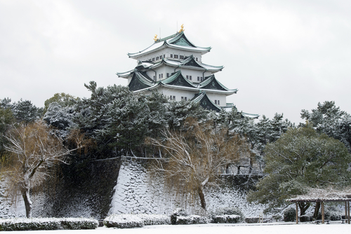 Nagoya castle, winter landscape