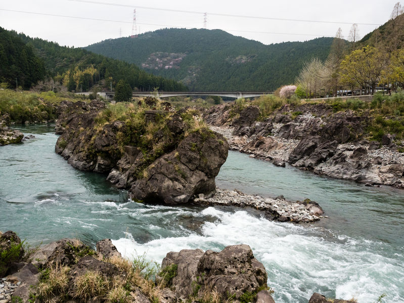Scenic Naka river running through the mountains of Tokushima prefecture in the vicinity of Tairyuji, temple 21 of Shikoku pilgrimage.